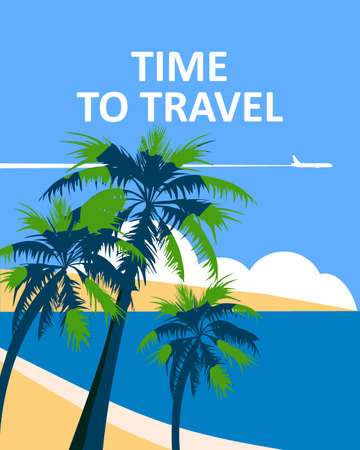 Time to Travel poster holiday summer tropical beach vacation. Ocean seaside landscape palms plane
