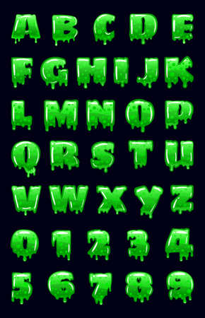 Slime Font green bubbling toxic mold. Letters numbers. Vector cartoon style illustration Vectores