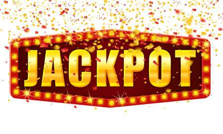 Jackpot Winner banner shining retro sign illuminated by spotlights falling confetti. Lottery cazino vector illustration isolated