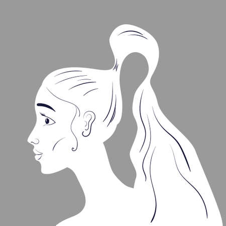 Beautiful woman portraite with long wavy hair line art. Vector illustration Vectores