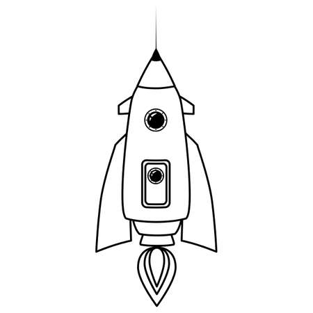 Rocket space ship retro icon line. Vector illustration isolated Ilustração