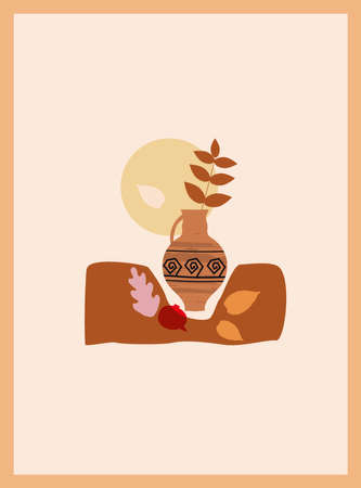 Autumn trendy card collage. Minimal shapes vase colour pastel flora. Template fall poster, banner vector illustration isolated