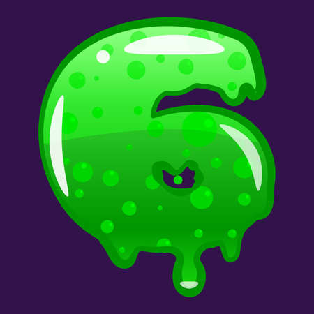 Slime font type number 6 latin alphabet. Green bubbling toxic mold. Vector cartoon style illustration