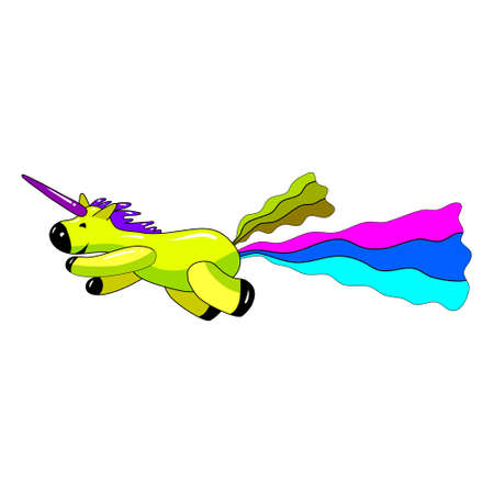 Unicorn smiling pooping a rainbow, fantasy cute character beast multicolored shit turd. Vector illustration isolated cartoon style