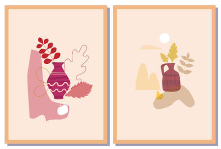 Set Autumn trendy card collage. Minimal shapes vase colour pastel flora. Template fall poster, banner vector illustration isolated