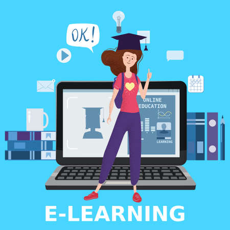 E-learning girl studying with computer and books, smile. The concept of online learning at home, online test, distance learning. Vector illustration isolated Vecteurs