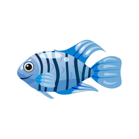 Tropical exotic coral blue fish, bright colorful coloring, isolated on white background, cartoon style