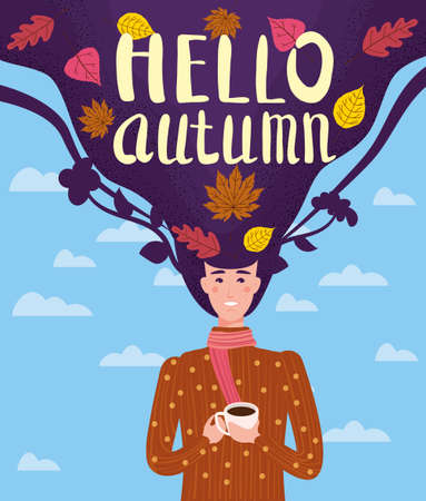 Girl cut and cheerful in a brown sweater drinks a cup of tea or coffee with autumn leaves. Lettering Hello Autumn, leaves yellow, orange. Vector illustration card banner template