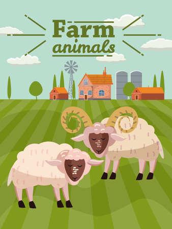 Sheep and ram are farm animals. Rural landscape background. Vector illustration cartoon style Ilustração