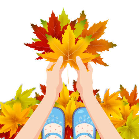 Women blue shoes on autumn leaves. Hands holding autumn leaves. Poster, banner vector illustration isolated