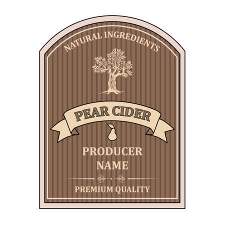 label for Pear Cider template retro vector isolated Ilustração