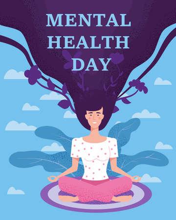 World Mental Health Day poster template. Yong woman sitting in yoga lotus pose relaxed. Vector illustration isolated concept