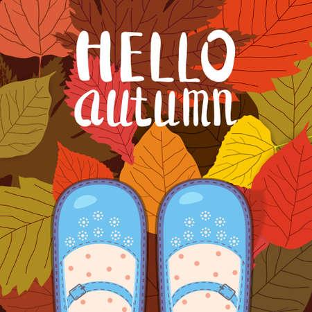 Women blue shoes on autumn leaves. Lettering Hello Autumn. Poster, banner vector illustration isolated Ilustração