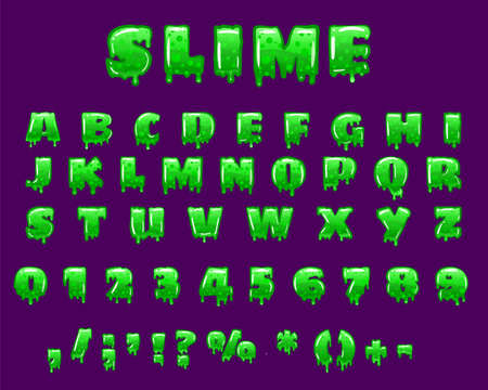 Slime Font green bubbling toxic mold. Letters numbers glyphs. Vector cartoon style illustration
