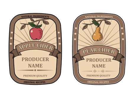 Set labels for Apple and Pear Cider template retro vector isolated