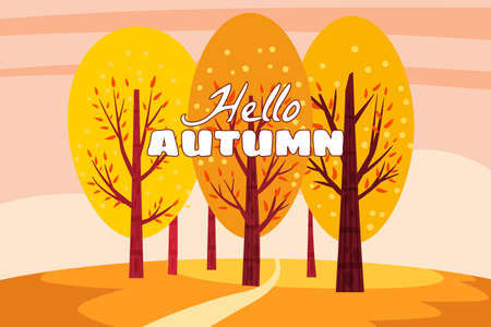 Hello Autumn landscape. Fall trees with yellow orange leaves, autumn nature park. Vector isolated illustration Ilustrace