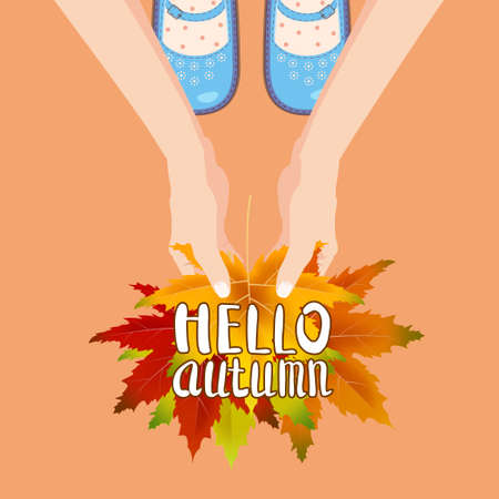 Women blue shoes on autumn leaves. Hands holding autumn leaves. Lettering Hello Autumn. Poster, banner vector illustration isolated Ilustração
