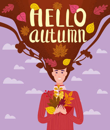 Girl cut and cheerful in a red sweater with autumn leaves. Lettering Hello Autumn, leaves yellow, orange. Vector illustration card banner template Ilustração