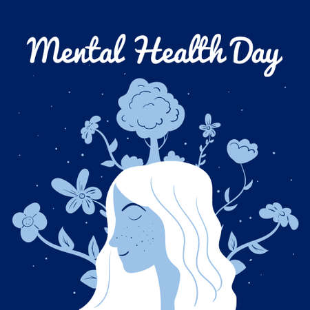 World Mental Health Day poster template. Yong woman with flowers relaxed. Vector illustration isolated concept