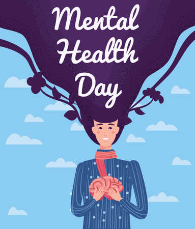 World Mental Health Day poster template. Yong woman holding hands in the brain. Vector illustration isolated concept Ilustração