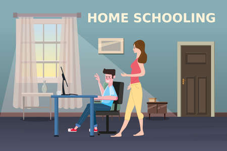Home Schooling Online boy studying with computer and mother. The concept of E-learning at home, online test, distance learning. Vector illustration isolated Ilustração