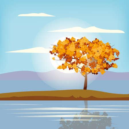 Autumn landscape scenery tree orange yellow foliage, lake, park, nature horizon. Vector illustration isolated