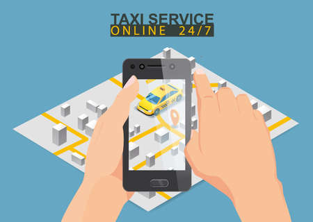 Taxi service isometric. Taxi mobile app template set. Smartphone with city map
