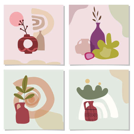 Set of card with exotic palm leaves and abstract vases. Trendy collage still life vase fruits abstract contemporary shape textures minimalism