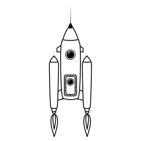 Rocket space ship retro icon line. Vector illustration isolated Illusztráció