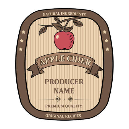label for Apple Cider template retro isolated