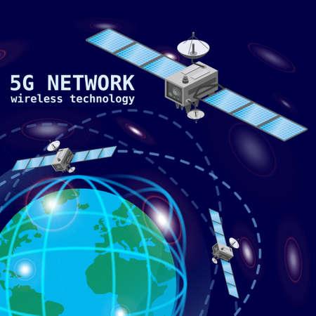 Global 5G internet network satellite communication. Satellites flying orbital upon Earth wireless technology smartphone isometric. isolated illustration