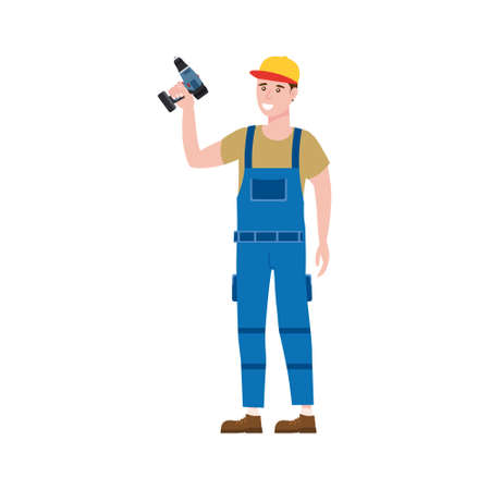 Construction worker with cordless screwdriver tool in work wear. Craftsman character isolated