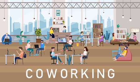 Coworking Space Office Interior People Talking And Working At The Computers In Modern Co-working Creative Workplace Open Space. Illustration Ilustração