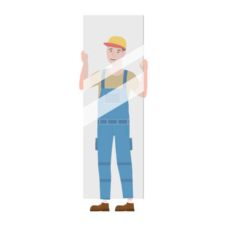 Construction worker with with glass sheet in workwear. Craftsman character isolated
