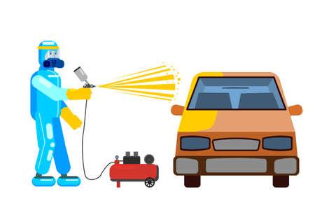 Car airbrush painter in workwear service auto body car repair. Craftsman repairman with spraying gun workshop. illustration isolated Ilustração