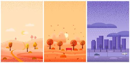 Set Autumn landscape september october november month. Season banner for calendar pages cover baner poster. Minimal noise brush trendy style isolated vector