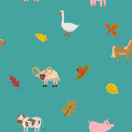 Seamless autumn pattern with farm animal ram, goose, cow, pig, horse. background cartoon style Ilustração