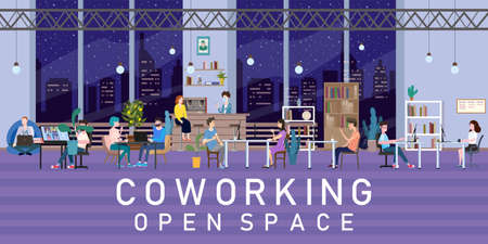 Coworking Space Office Interior People Talking And Working At The Computers In Modern Co-working Creative Workplace Open Space At Night. Illustration