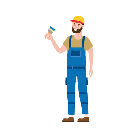 Construction worker painter with brush in workwear. Craftsman character vector isolated