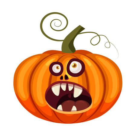 Pumpkin Halloween funny face open mouth creepy and scary funny jaws teeths creatures expression monster character. Vector isolated cartoon style