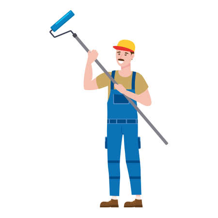 Construction worker painter with rollerbrush in workwear. Craftsman character vector isolated