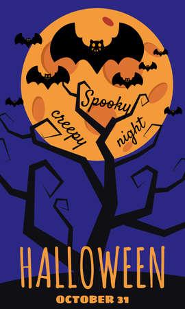 Halloween holiday greeting card bats moon tree. Template banner, flyer, poster Ilustração