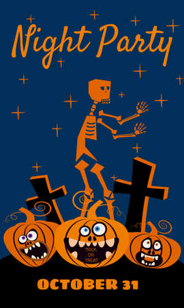 Halloween holiday Night Party greeting card merry pumpkins in a rising dead cemetery