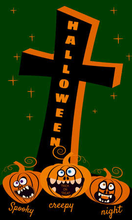 Halloween holiday Night Party greeting card merry pumpkins in cemetery
