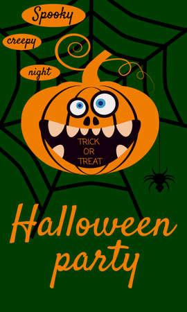 Halloween holiday greeting card merry pumpkin in spider web. Template banner, flyer, poster Ilustração