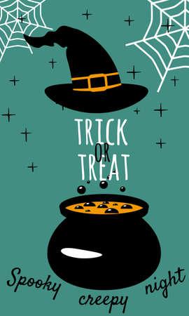 Halloween holiday greeting card Trick Or Treat. Witch hat cauldron. Template banner Ilustração