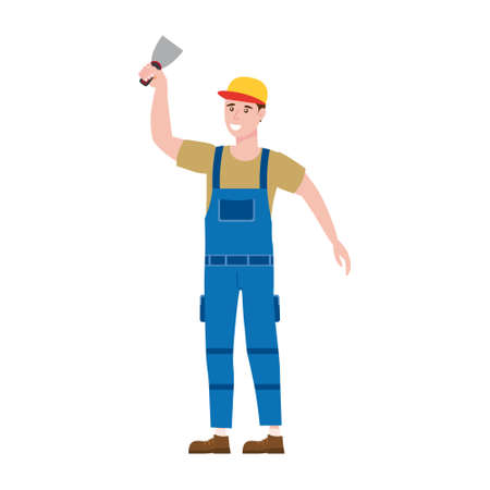 Construction worker with plastering trowel tool in workwear. Craftsman character vector isolated Ilustração