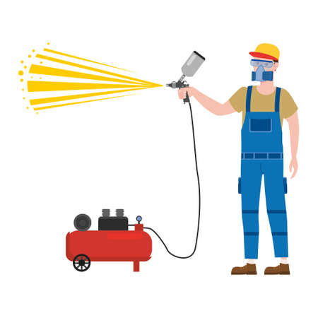 Construction spray painter worker with spray gun airbrush tool in workwear. Craftsman character vector isolated