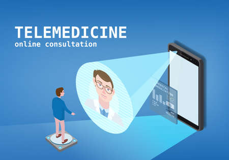 Telemedicine smartphone concept characters doctor and patient consultation diagnosis by internet. Online doctor service isometry. Vector illustration isolated Ilustração