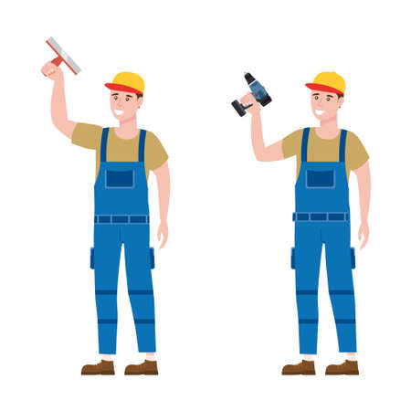 Set Construction workers with cordless screwdriver, plastering trowel tools in workwear. Craftsman character vector isolated
